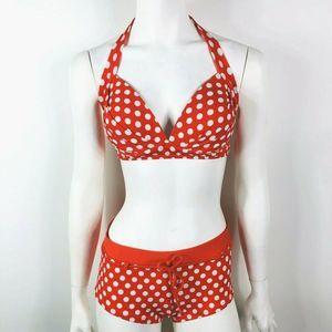 Venus Swim - Venus Red White Polka Dot Halter Boy Shorts Bikini